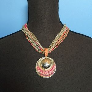 Chico's Boho Bead Statement Necklace